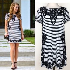 Postmark Striped Embroidered Filigree Tunic Dress